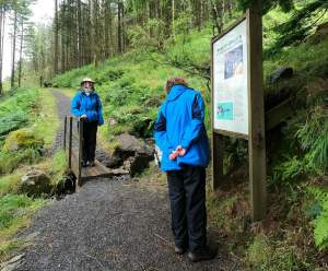 Walkers looking at information board