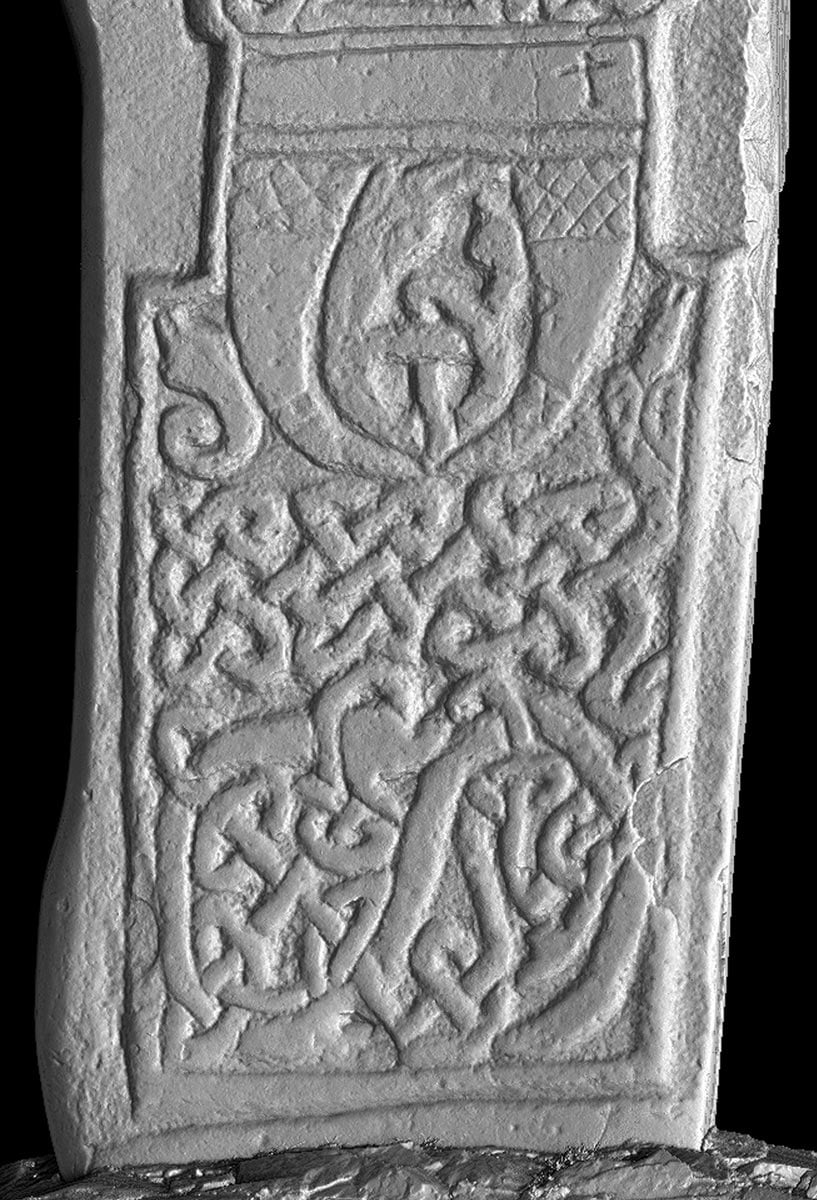 Detail of the lower portion of the stone with animal interlace