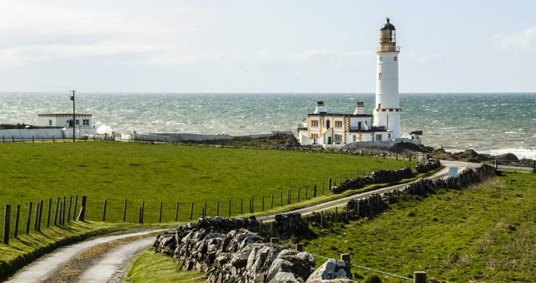 The approach to Corsewall Lighthouse